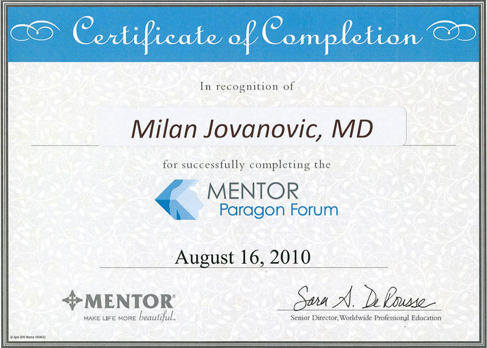 doc dr milan jovanovic s diplomas plastic cosmetic surgery   surgeon s diploma mentor s certiciate san francisco 2010