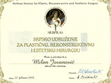 Surgeon's diploma – Serbian Society of Plastic, Reconstructive and Aesthetic Surgery